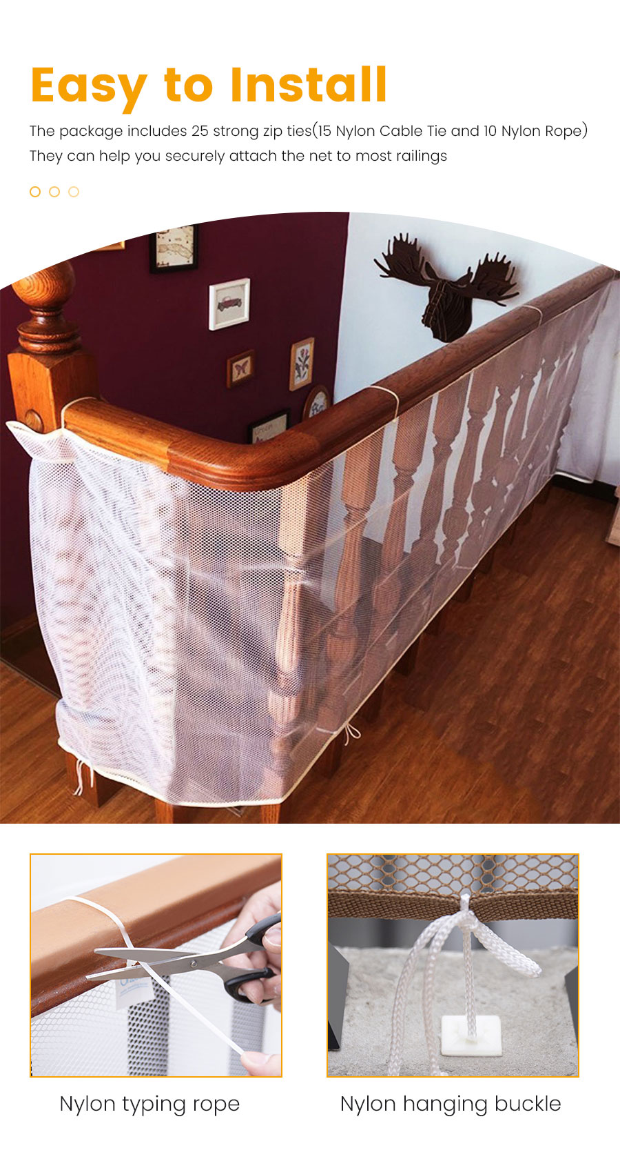 Baby Safety Stair Rail Net Children Protection Fence Net ...