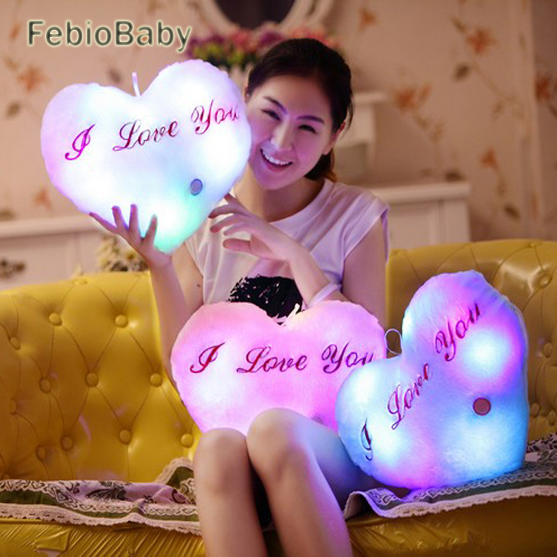 Creative Heart Shaped Pillow Plush Light Up LED Toys Glowing Toys With English Letter Lovers Gift for Girl Friend Stuffed Pillow