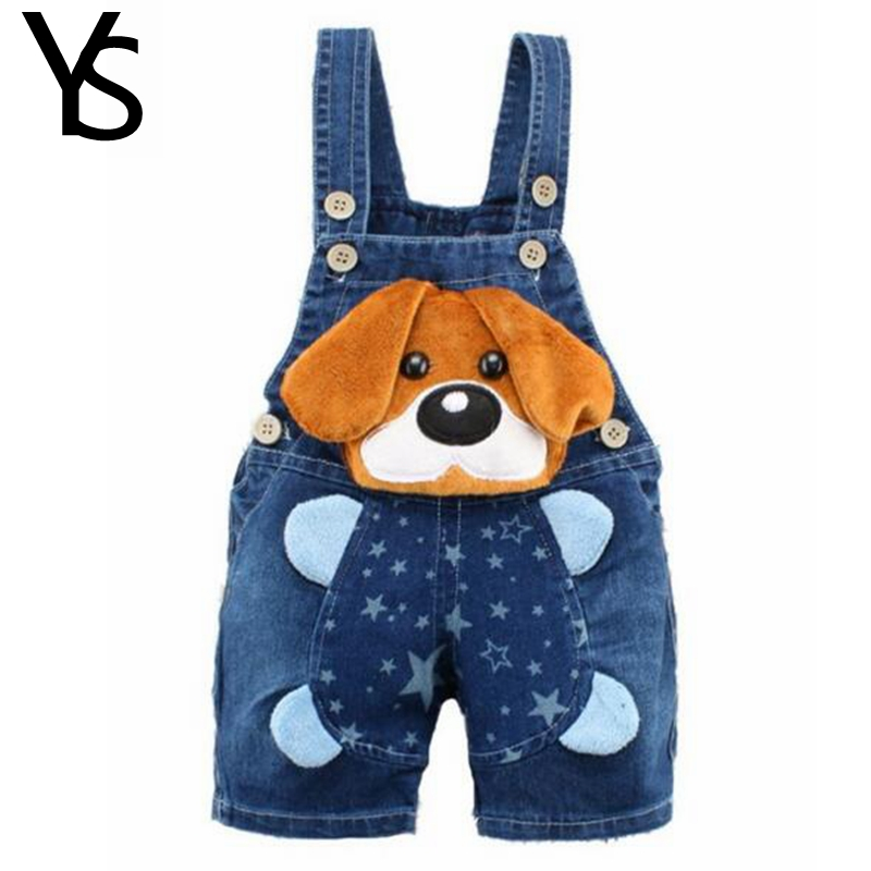 6M-4T Baby Boys Jeans Overalls Shorts Infant Toddlers Kids Denim Rompers Cute Dog Jumpsuit  For Summer Children Clothes