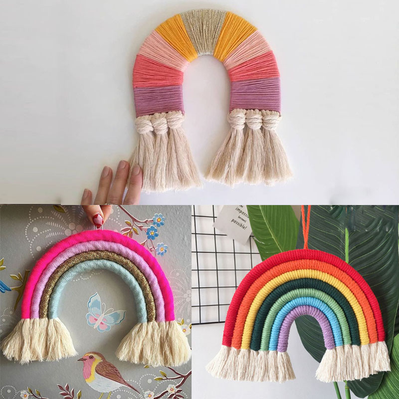 INS Nordic Hand-woven Rainbow Tapestry Boho Rainbow Tassel Wall Hanging Ornaments Kids Room Decoration Wind Chimes Photo Props