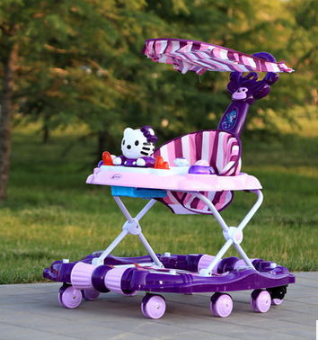Baby Walker Young Child Car Rollover Multi-function Folding Rock Music Carriage with Baby Toys Walkers for Babys Baby Scooter