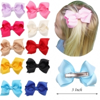 20 Color 3 Inch Kids Cute Solid Ribbon Hair Bow Hairpins Boutique Hair clips  Handmade Princess Headwear Girls Hair Accessories