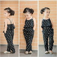 Hot-Selling Baby Kids Girls One-piece Sleeveless Heart Dots Bib Playsuit Jumpsuit T-shirt Pants Outfit Clothes 2-7Y