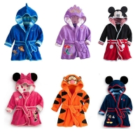 Children's Bathrobe Nemo Minnie Mickey Ariel Soft Velvet Robe Baby Girls Pajamas Coral Kids Warm Toddler Robes Infant Clothes