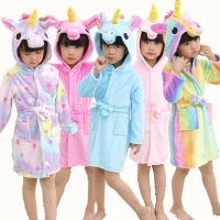 Retail Baby Animal Bathrobe For Boys Girls Home Clothes Unicorn Pattern Hooded Towel Beach Kids Sleepwear Children Clothes YUPAO