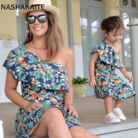Mom and daughter dress Leaf Print One Shoulder Mini Dress Mother Daughter Dresses Mother and daughter clothes Family Look