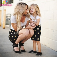 Hello Enjoy Mother Daughter Matching Clothes Sets Kids 2019 Short Sleeves Dot T-shirt+Skirts Family Look Clothing Outfits