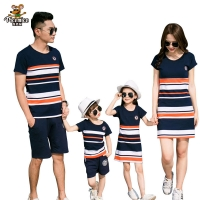 Family Matching Outfits 2019 summer Fashion Striped T-shirt Outfits Mother And Daughter Dresses And Father Son Baby Boy Girl