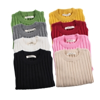 Autumn Winter Baby Girls Sweaters Soft Cotton Boys Knitted Pullover Candy Color Kids Ribbed Sweater Children's Clothing