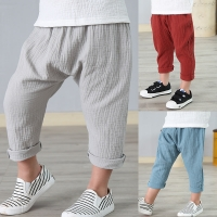 2-7 yrs linen pleated kids pants Hot 2018 summer girls boys pants children ankle-length pants harem pants baby boy girl clothes