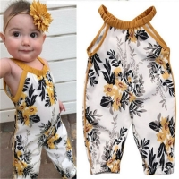 Flower Baby Overalls Summer Spring Infant Pants Jumpsuit Baby Boy Girl Sleeveless Trousers Children Cotton Pant Newborn Overalls