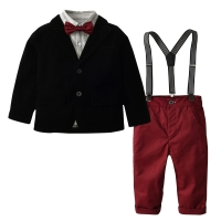Autumn Kids Suits Blazers 2019 Fashion Baby Boys Shirt Overalls Coat Tie Suit Boys Formal Wedding Wear Cotton Children Clothing