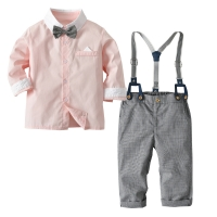 2019 Autumn Kids Suits Blazers Baby Boys Single Breasted Blouse Overalls Tie Suit Boys Formal Wedding Wear Children Clothing