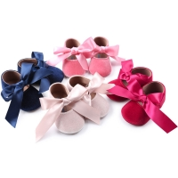Newly Sweet Lovely Casual Baby Girls Shoes Outfit Spring Autumn Flannel Solid Bow Lace Up Crib Shoes Outfit 0-18M 4 Style