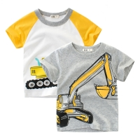 2020 Brand Summer Top Baby Boy T Shirt Excavator Embroidery Gray Short Sleeve Boys T Shirt Pure Cotton Kids Clothes 2-9Y