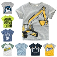 Cotton Boys T Shirt Excavator Summer 2019 Cartoon Frog Printed Short Sleeve T-Shirt For Kids Boys Tee Shirt Dinosaur Tops