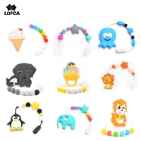Baby Teethers Animal Pacifier Clips Chain For Baby Gameboy Pendant Nipple Holder Baby Teething Toys BPA Free Biscuit Chew Beads