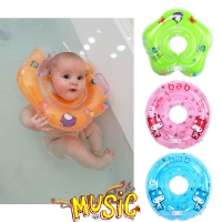 Baby Neck Float Swimming Newborn Baby Swim Neck Ring Pump Mattress Cartoon Pool Swim Wheel For 0-24m Kids Swim Pool Accessories