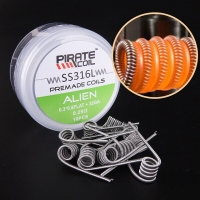 PIRATE COIL 10pcs SS316L Wire Heating Wire For Rda Rba Rebuildable Diy Atomizer Coil Alien 0.25 ohm (0.3*0.8FLAT+32GA)