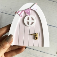 Mini Arch Hand Made Cute pink Fairy door Mouse hole, miniature wooden door with bunting and personalised sign post