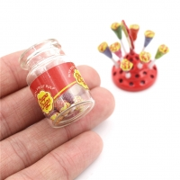Miniature Food Dessert Sugar Mini Lollipops With Case Holder Candy For Doll House 1/12 Kitchen Furniture Toys Accessories 1:12