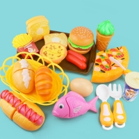 Children Kitchen Cutting Toys Pizza Hamburger Bread Fast Food Pretend Play Plastic Miniature Food Girls Kids Education Toy Gift
