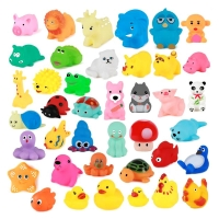 10Pcs/Set Cute Baby Bath Toys Wash Play Animals Soft Rubber Float Sqeeze Sound toys for baby GYH