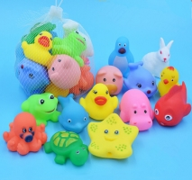 13pcs/lot Baby Bath Toys Animal Rubber Duck Kids Bathroom Water Play Toy Floating Squeeze Sound Squeaky Bathing Toys