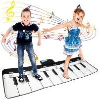 110x36cm Musical Mat Keyboard Piano Play Mat with 10 Touch Keys & 10 Melody & 8 Instrument Educational Toy Gift for Boys & Girls