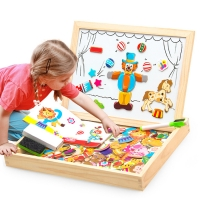 100+Pcs Wooden Magnetic Puzzle Toys Children 3D Puzzle Figure/Animals/ Vehicle /Circus Drawing Board 5 Styles Learning Wood Toys