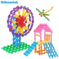 100pcs/bag Multicolor Plastic Snowflake Building Blocks Kids Assembled DIY Toy Baby Learning Educational Toys for Children Gift