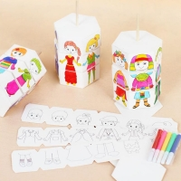 Kids Rotary DIY Paper Color Matching Graffiti Change Clothes Doll Creative Handcraft Puzzle Kindergarten Craft Toys For Children