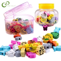 26pcs/lot wooden toys Cartoon Animals Fruit beads Stringing Threading Beads Game Education Toy for Baby Kids Children WYQ