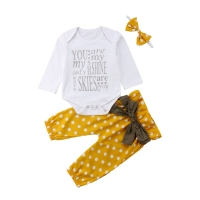 3Pcs Newborn Baby Girl Cotton Tops Romper Dot Bowknot Pants Outfits Clothes