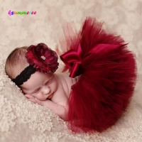 Ksummeree Princess Cranberry Tutu with Vintage Headband Newborn Photography Prop Christmas Tutu Skirt Baby Shower Gift TS078