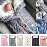 Baby Sleeping Bags Winter Infant Button Knit Swaddle Newborn Wrap Swaddling Baby stroller Wrap Toddler Blanket