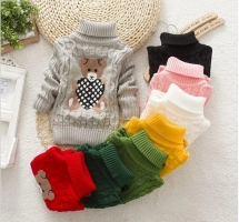 Kids Christmas Sweaters Autumn Winter Casual Cartoon Bow Sweaters Little Girls  Thicken Warm Outwear For Toddler Girls Sweater