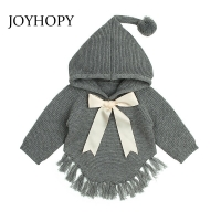 JOYHOPY Baby Sweaters Hooded Girls Knitted Sweater Autumn Winter  Bowknot Toddler Infant Knitwear Kids Clothes