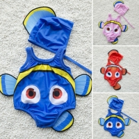 2PCS Kids Baby Girl Swimsuit Goldfish Swimwear Swimmable Costume+Swimming Hat 2019 New Cute High Quality Hot Sale