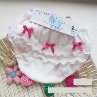 2pcs/lot Baby girl underwear Clothing cotton Wood ear Bow Pink and white  0-2 years old Newborn baby girl shorts Underwear