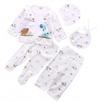 0-3M Newborn Baby 5Pcs Underwear Set Soft Animal Print Infant Baby Unisex Cotton Outfit T-Shirt+Pant For 0-3 months Baby