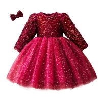 2019 Winter Knitted Chiffon Girl Dress Christmas Party Long Sleeve Children Clothes Kids Dresses For Girls New Year Clothing
