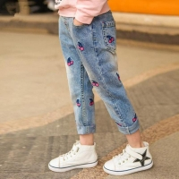 Girls autumn winter cherry printed denim pants kids jeans kids trousers for teenagers ripped jeans 3-12Years