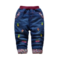 Baby Girls Boys Winter Jeans Children Thick Plus Velvet Cartoon Denim Pants 2018 New Kids Soft Cotton Warm Trousers 1-4 Years