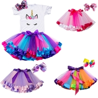 Summer Tutu Skirt Baby Girl Skirts Princess Mini Pettiskirt Birthday Party Rainbow Unicorn Skirt Girls Clothes Children Clothing