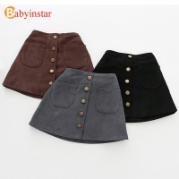 2019 New Arrival Girls Skirts Autumn Winter Children Buttons Clothes Kids Corduroy Skirts Baby little Girl Skirts For 1-6 Years