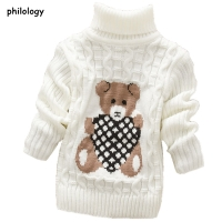 PHILOLOGY 2T-8T bear winter boy girl kid thick Knitted bottoming turtleneck shirts baby high collar pullover toddler sweater