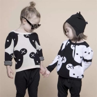 New 2019 Baby Boys Girl Clothes Cute Cartoon Cotton Knitting Fashion Children Black White Bear Sweater Boys Cardigan Kids Coat