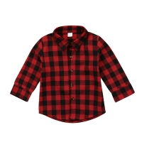 FOCUSNORM Toddler Kids Baby Boy Girl Plaid Letter Turn Down Collar Long Sleeve Cotton Tops Shirt  Clothes