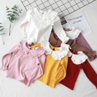 Toddler Kids Baby Girls Cotton shirt Long Sleeve Solid Tops Spring Autumn Girls Basic Tee Shirt RT508